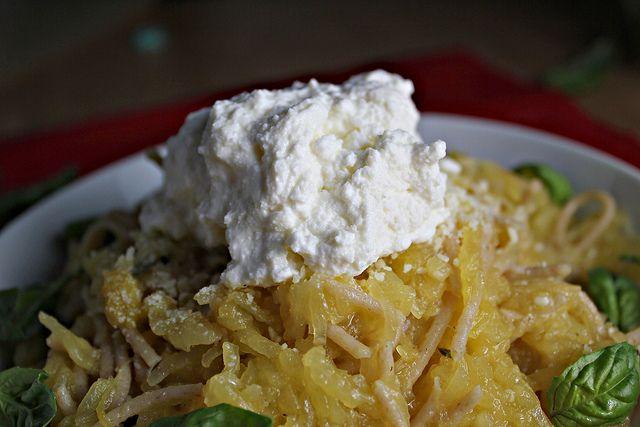 Spaghetti and Spaghetti Squash with Lemon Garlic Sauce and Ricotta ...