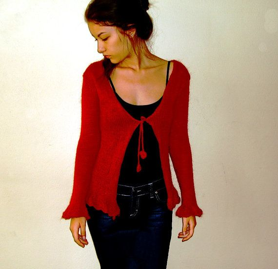 Women's Knit Jacket burgundy red sweater by boutiqueseragun, $65.00