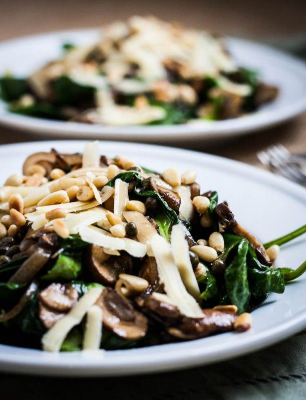 Warm Spinach Salad with Mushrooms and Pine Nuts » omit cheese to make ...