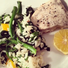 Roasted Swordfish with Meyer Lemon Rapini Risotto #cookingklout # ...