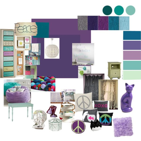 L's Peace Themed Bedroom Tween Bedroom Mood Board purple aqua gray peace