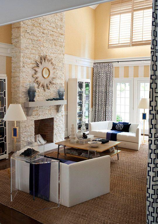Navy Yellow White Living Room Dream House Pinterest