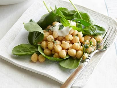 Chickpea and Spinach Salad with Cumin Dressing and Yogurt Sauce   Rec ...