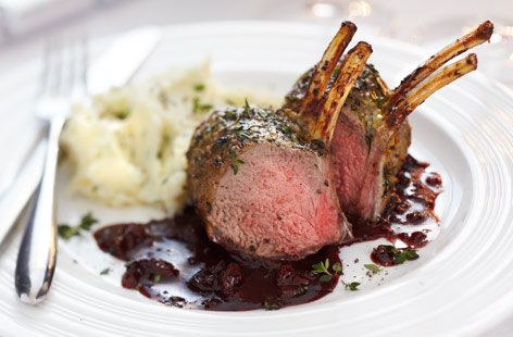Finest mustard rack of lamb with dried cherry, shallot port wine sauce ...