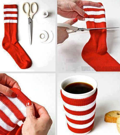 use a old sock to make a coffee sleeve. |Pinned from PinTo for iPad|