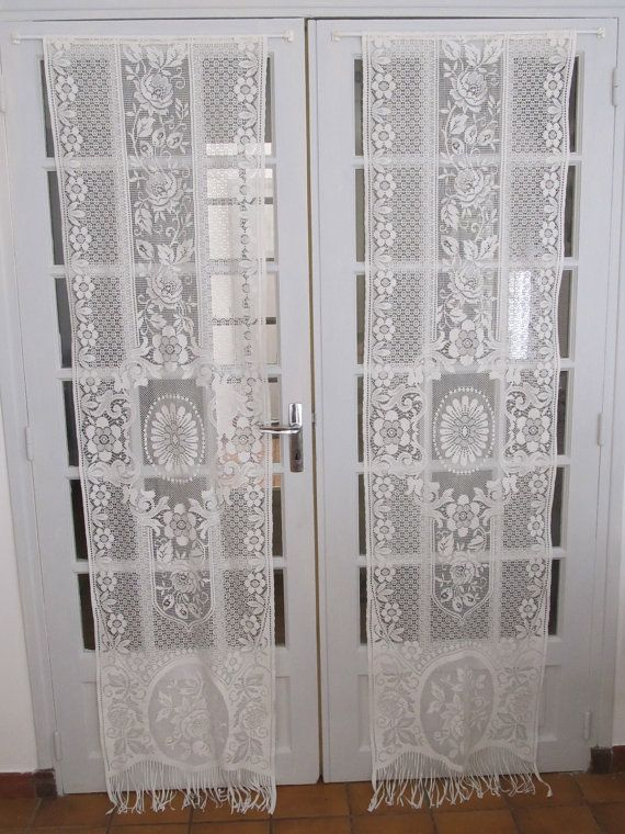 Ivory french door lace curtains cream lace panels