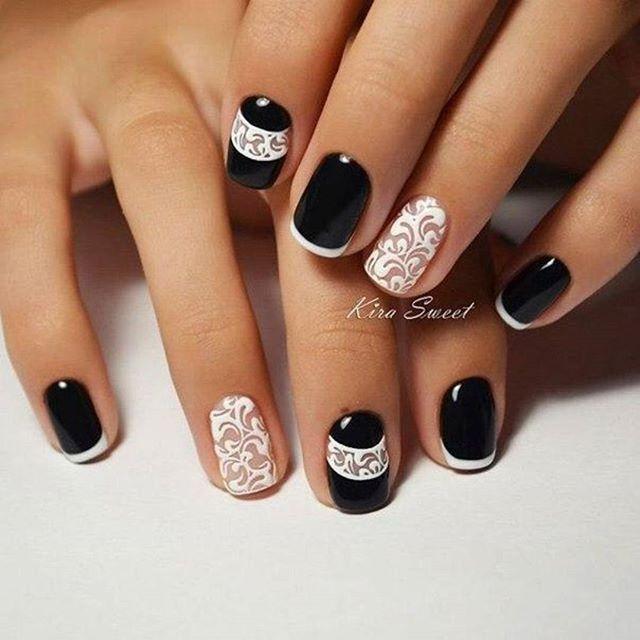 Дизайн ногтей черно белое