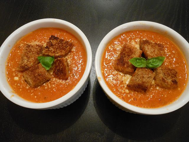 Flavors by Four: Fire Roasted Tomato Soup with Whole Wheat Croutons