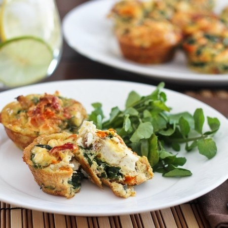 Spinach, Sundried Tomatoes and Feta Frittata Bites