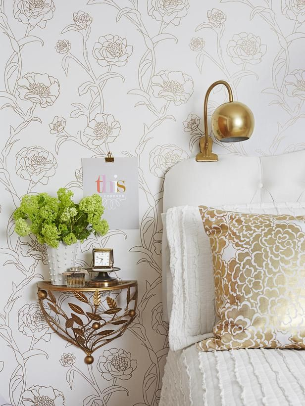 white and gold fab bedroom decor