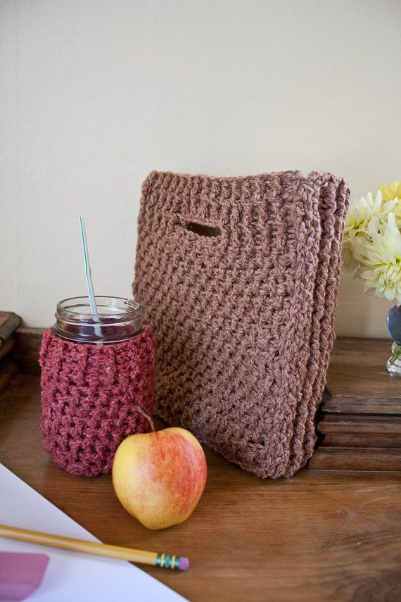 Crochet Lunch Bag Pattern : Crochet Pattern Lunch Bag and Pint Jar Cozy - Pattern Only