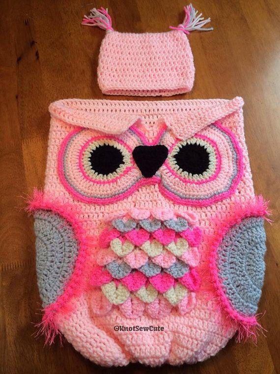 Crochet Owl Cocoon : crochet baby owl cocoon photo prop