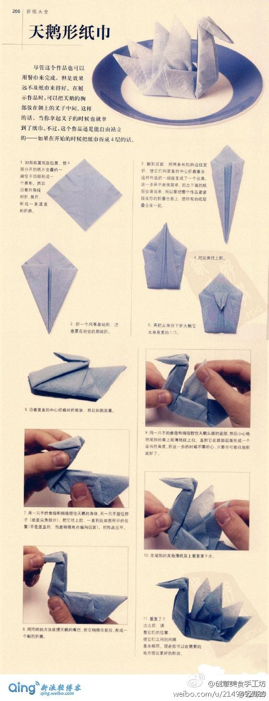 Swan napkin gettin 39 crafty pinterest for Origami swan folding instructions