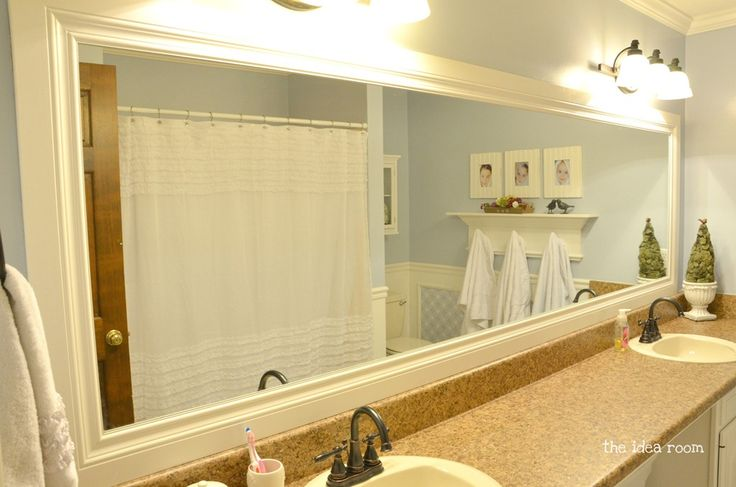 Mirror Decoration frame builder grade mirror : Girls-Bathroom 4wm mirror was builder grade mirror that was framed in ...