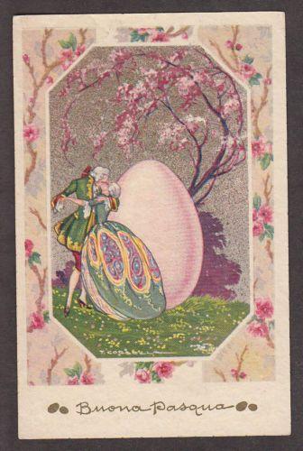 G1738 Corbella postcard, Victorian couple with giant Easter Egg Italian 1028