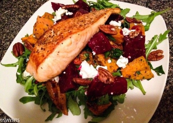 Grilled Salmon Salad with Goat Cheese, Sweet Potatoes, and Pecans