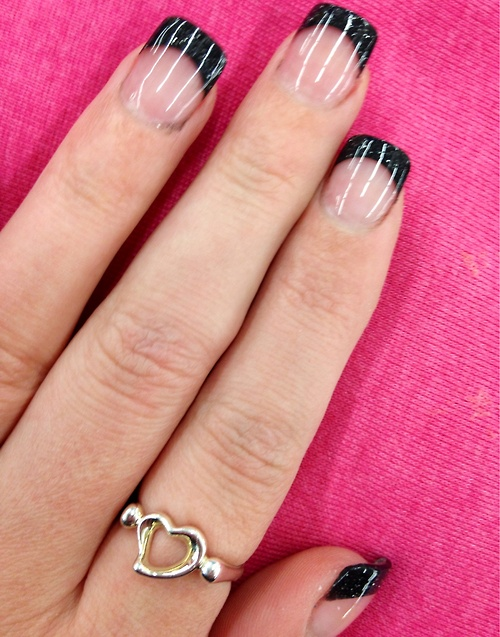 Black french tip nail images
