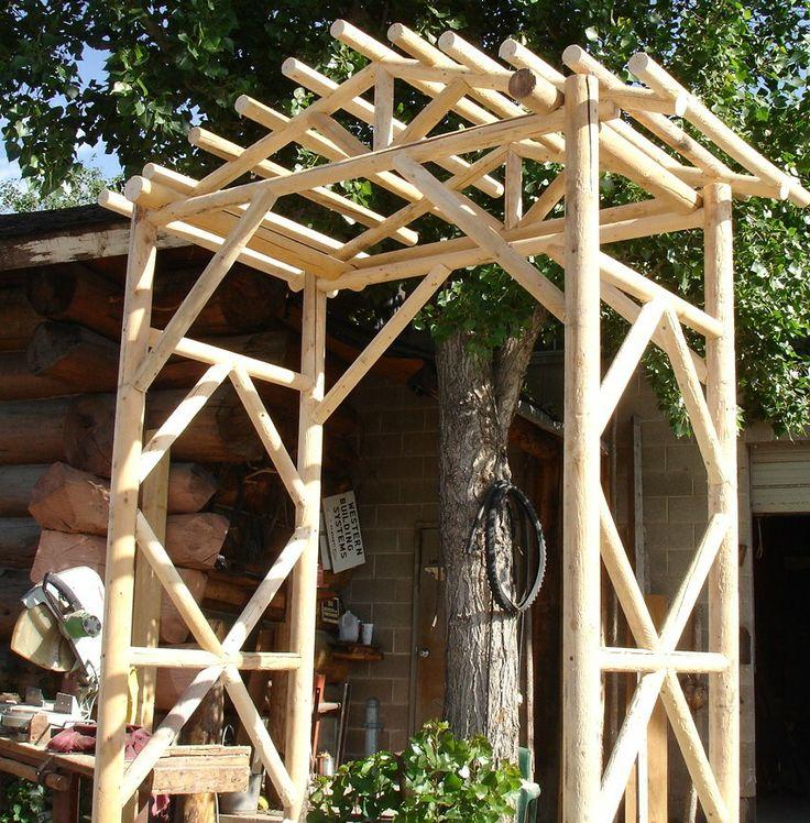 Garden arch log log truss timber pinterest for Timber garden arch designs