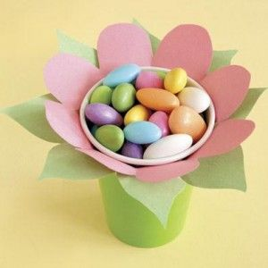 Easy Easter sweet surprises for table Décor , made from paper cups & colored paper, then filled with candy