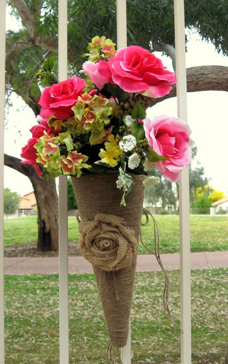BURLAP WEDDING Rustic Wedding Decor Flower Cones Pew Cones Decoration ...