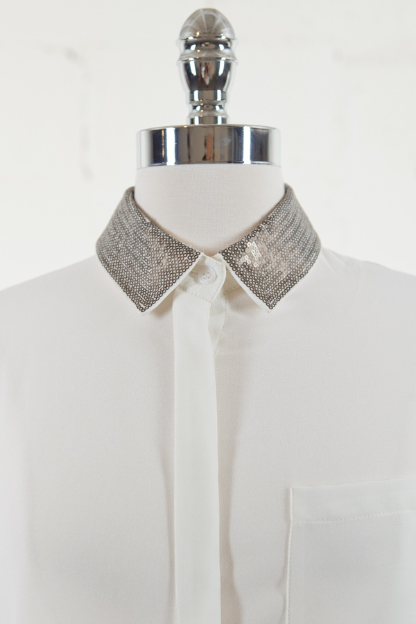 Gold Sequin Collar Blouse 96