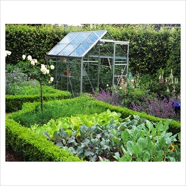 Love the kitchen garden/greenhouse combo...