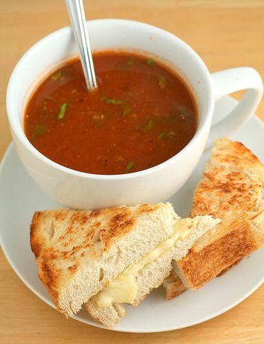 Roasted Tomato and Quinoa Soup & Grilled Cheese Sandwich