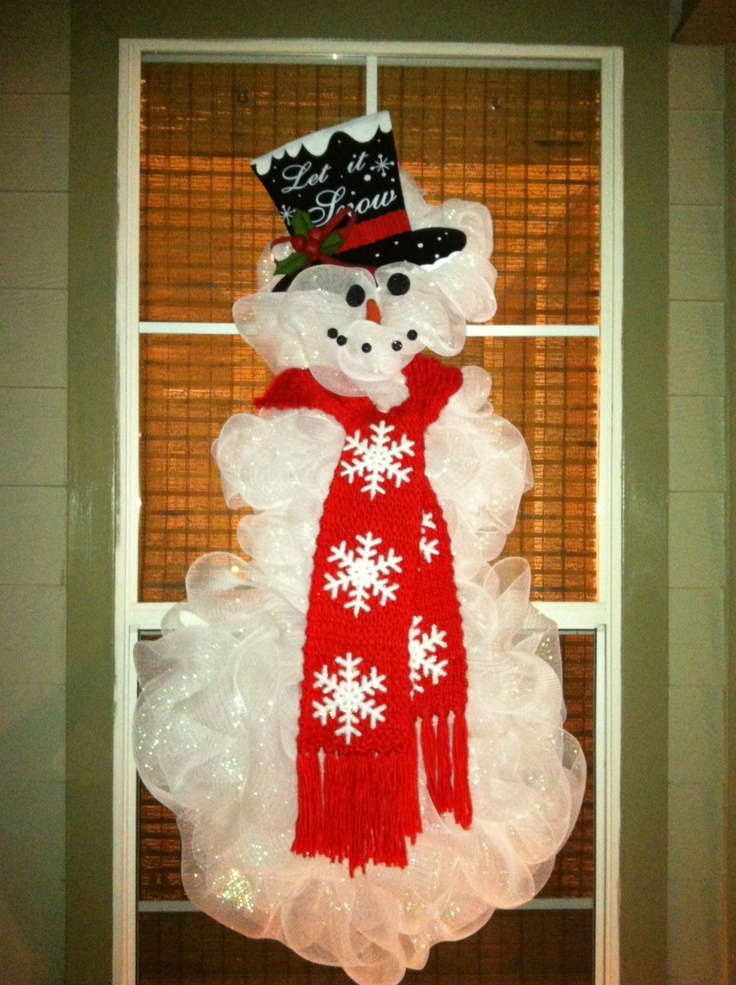 Deco Mesh Snowman Wreath