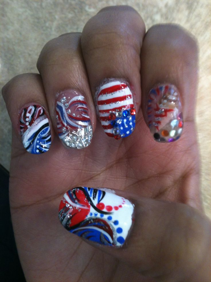 my nail art independence day my crazy nail art designs. Black Bedroom Furniture Sets. Home Design Ideas