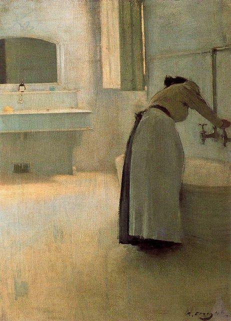 Ramon Casas i Carbó (Catalan Spanish artist, 1866–1932), Preparando el baño (Preparing the Bath)