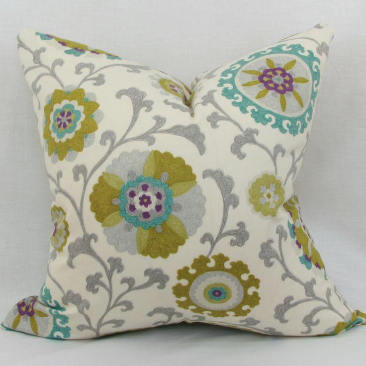 Green & teal suzani pillow Decorative pillows Pinterest