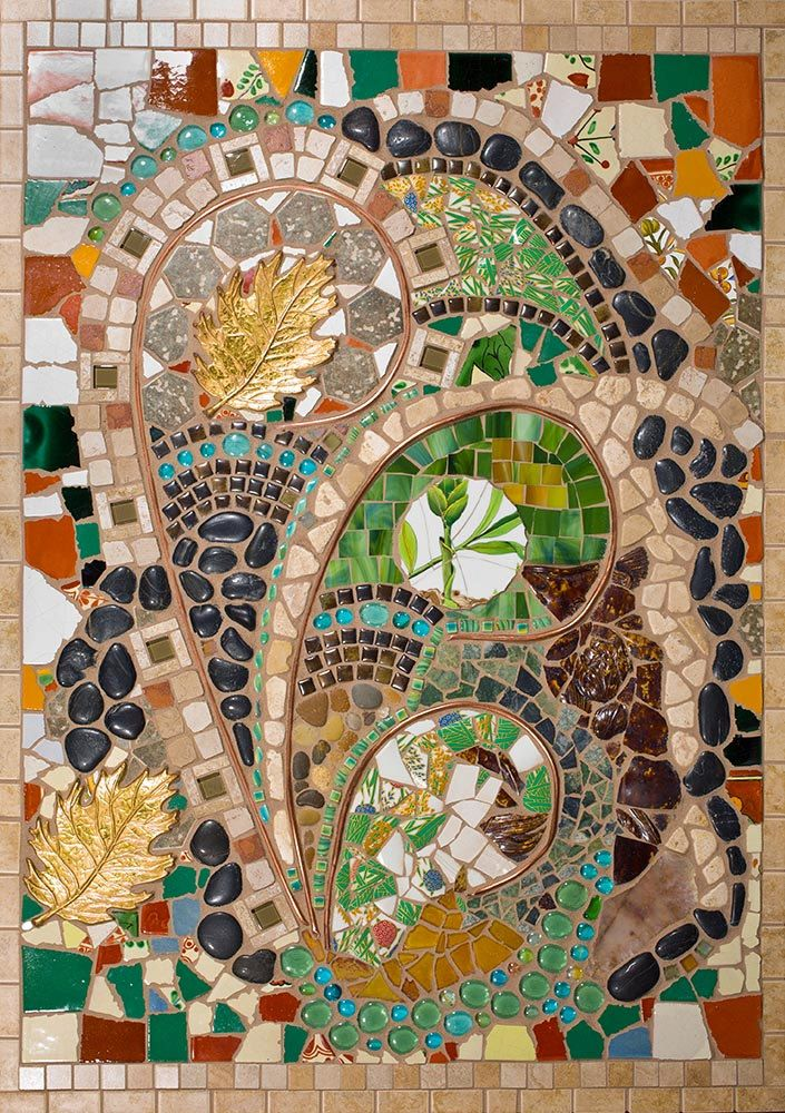 Mixed Media Mosaic art piece bursting with texture and color.