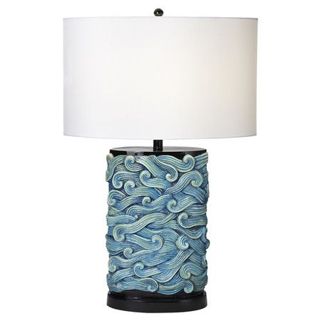 table lamp with a turquoise wave motif and oval drum shade product. Black Bedroom Furniture Sets. Home Design Ideas