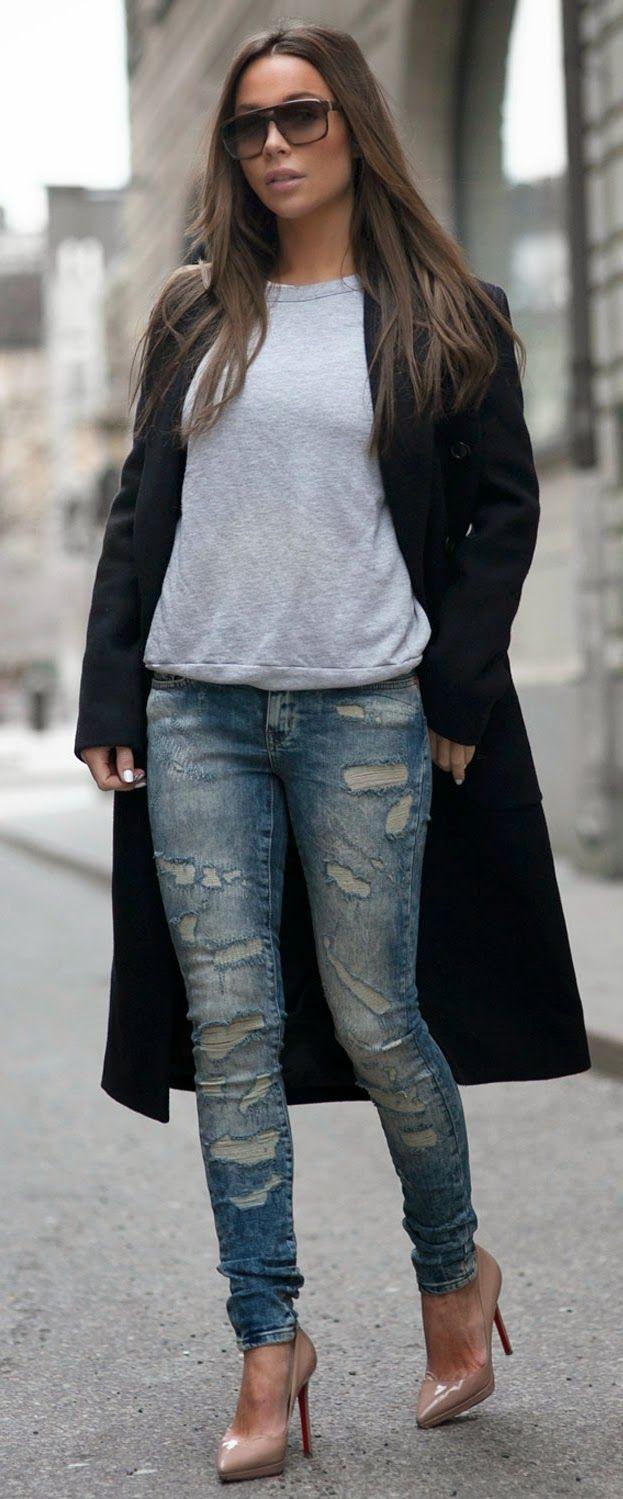 Boyfriend Sweater +  Hot Ripped Jeans / Best LoLus Street Fashion