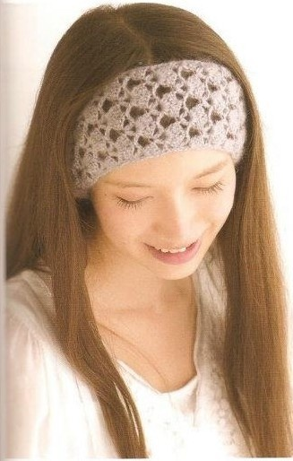 Crocheting Over A Hair Band : Headband with diagram - scroll down to the middle of the page