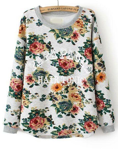 Beige Long Sleeve Floral Letters Print Sweatshirt