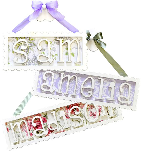 cute name plaques with fabric backgrounds!