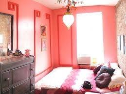 Peachy pink bedroom.