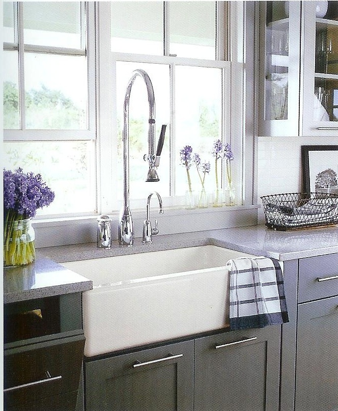 Country Farm Sink : Country Living. Love the farm sink and the commercial faucet.