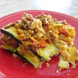 summer lasagna..no noodles, sub sliced zucchini. Have some giant zucchini from the garden, must try this.