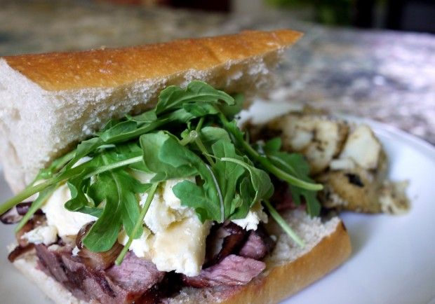 grilled rib-eye with blue cheese, arugula and sauteed wild mushrooms ...