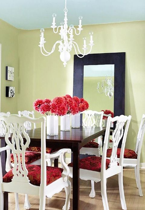 white painted chairs dark table bhg