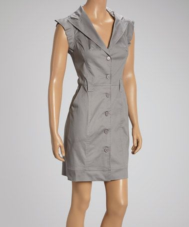 Rubber Ducky Productions Gray Lapel Shirt Dress