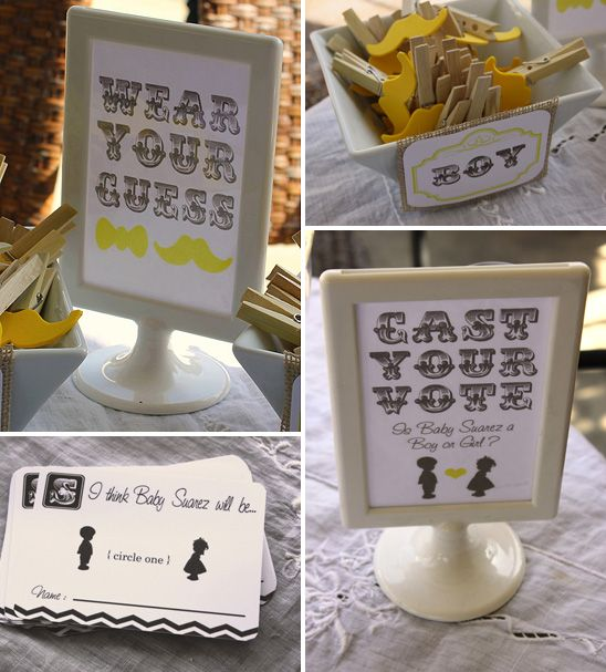 baby shower idea! guests pin a bow or a mustache on for their guess of baby's gender.