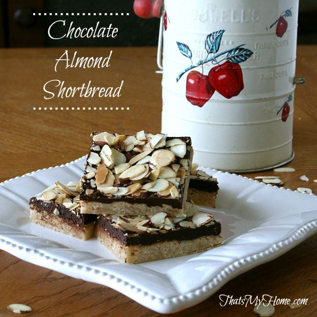 Chocolate Almond Shortbread #chocolatealmondshortbread #cookierecipes