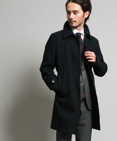 ステンカラーコート×スーツ