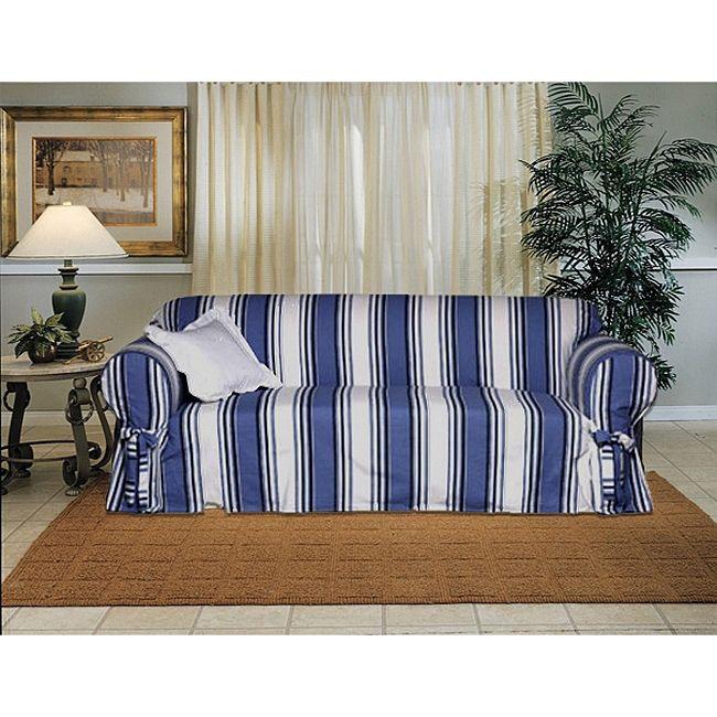Cotton Blue Stripe Sofa 1 Piece Slipcover