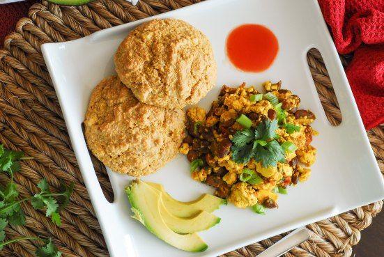 Southwestern Tofu Scramble with Cornmeal Drop Biscuits