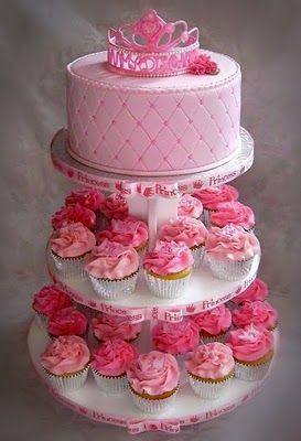 Princess cake w/ cupcakes. Love it!