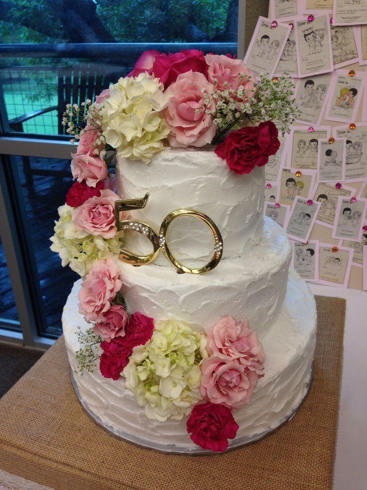 50th anniversary cake Fresh flowers   Cakes   Pinterest